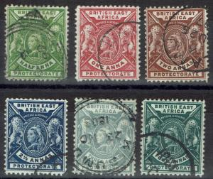 BRITISH EAST AFRICA 1896 QV LIONS 1/2A  -  4A USED