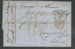 Transatlantic Ship Stampless Cover 1863 NY To Zurich Switzerland, Per Europa