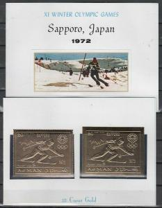 Ajman, Mi cat. 653 A-B. Sapporo Olympic Skier, GOLD FOILS in Souvenir Folder.