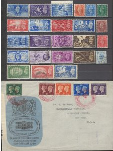 COLLECTION LOT OF #1074 GREAT BRITAIN 25 STAMPS + 1 COVER 1937+ CV+$37 2 SCAN