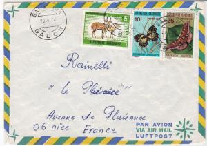 Rep Gabonaise 1972 Airmail to Nice Butterflies + Antilope Stamps Cover Ref 32519