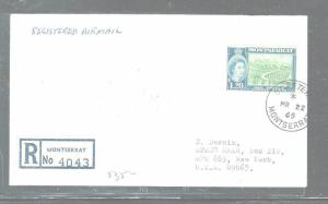MONTSERRAT  (P2903B) QEII $1.20 REG COVER FROM ST PETERS 1965 TO USA