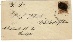 Venezuela 1891 Maracaibo cancel on cover to the U.S., oval handstamp for dentist
