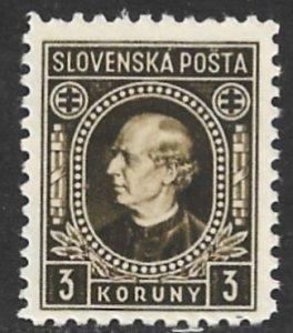 SLOVAKIA 1940-42 3h Andrej Hlinka P. 10 1/2 Wmkd Portrait Issue Sc 57a MNH