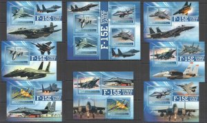 F1065 2020 LESOTHO F-15E MILITARY AIRCRAFTS AVIATION !!! 7BL+1KB MNH