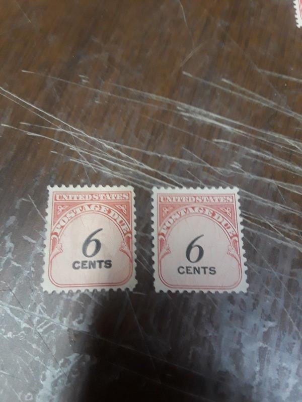 1959 Postage Due 6c Normal & double impression of value