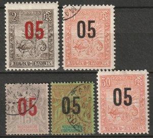 Madagascar 1912 Sc 115/21 partial set MH*/used