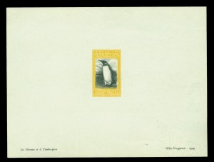 FALKLAND ISLANDS 1933 Centenary - PENGUIN 5/-  black & yellow PROOF SHEETLET - R
