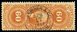 B624 U.S. Revenue Scott #R64c 60c Inland Exchange 1867 handstamp cancel