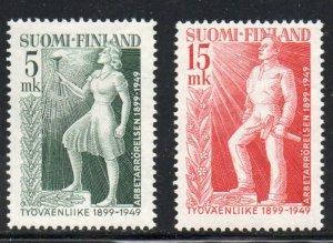 Finland Sc 283-84 1949 Labour Movement stamp set mint NH