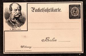 Germany 1888 Local Post Berlin Mourning Kaiser postcard stationery WS11927