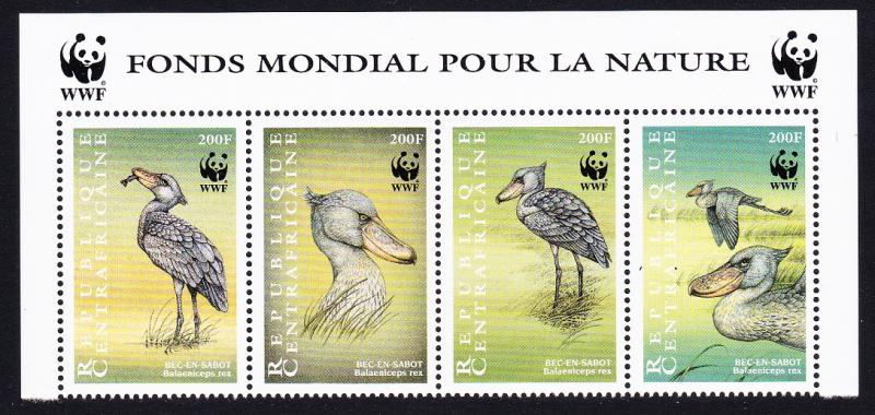 Central African Rep. WWF Shoebill Strip of 4v with WWF Logo SC#1239 a-d
