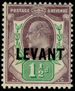 BRITISH LEVANT SGL3, 1½d dull purple & green, LH MINT.