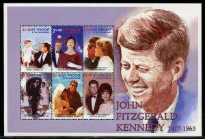ST, VINCENT GREN. JOHN FITZGERALD  KENNEDY 1917-1963 SHEET  MINT NEVER  HINGED