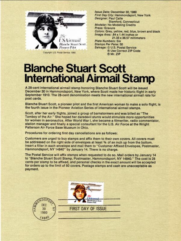 US SP501 Blanche Stuart Scott C99 Souvenir Page FDC