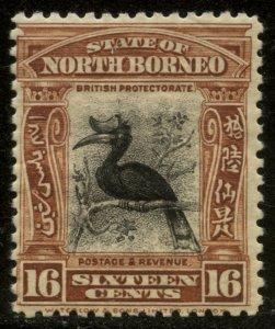 North Borneo 1926 16c Orange Brown & Black Hornbill Sc# 176 mint