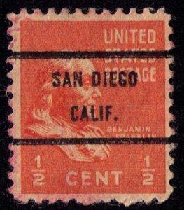 US Sc 803 Precancel San Diego Calif. F-VF