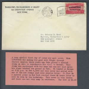 VEGAS - 1928 Cuba First Day Of Issue Lindbergh Cover - READ - EX254