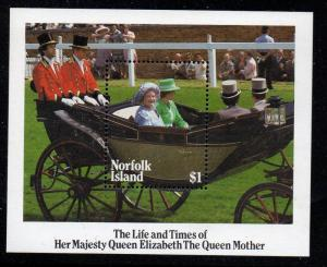 Norfolk Is Sc 368 1985 Queen Mother stamp sheet mint NH