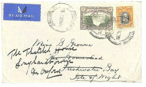 SOUTHERN RHODESIA Cover Unusual 4d+2d Airmail Franking Forwarded GB IOW 1936 U22
