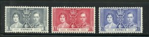 CYPRUS CORONATION OF GEORGE VI 1937 SC# 140-42 MINT NH AS SHOWN