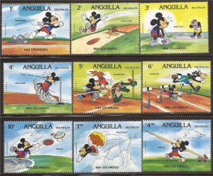 Anguilla - 1984 Disney Mickey Mouse in Olympic Decathlon - 9 Stamp Set #559-67