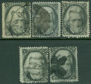 EDW1949SELL : USA 1863 Scott #73. 5 stamps, Used. All nice & Sound. Catalog $325