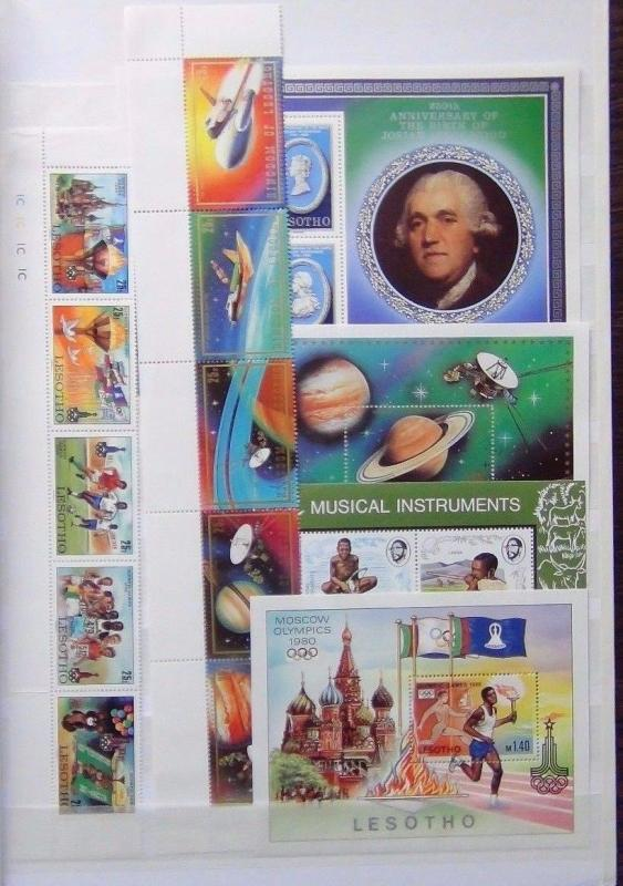 Lesotho 1974 Music M/S 1980 Olympics set M/S Pottery M/S 1981 Space set M/S MNH