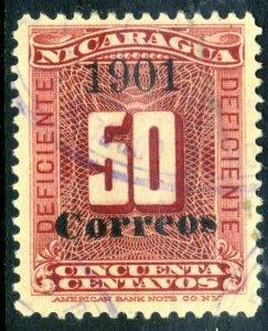 Nicaragua 1901 ⭐ Dues w/Correos OPs ⭐ 50¢⭐ Scott 143 ⭐ VFU ⭐ R130 ⭐☀⭐☀⭐☀⭐