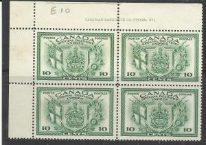 Canada E10 10c Special Delivery Plate Block of 4 MNG VF Pencil ID in selvedge