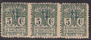 SPAIN ^^^^BOB  Barcelona  1932   MNH strip of  3    $$@xx dccc444spa4