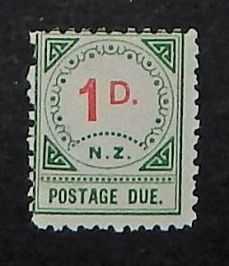 New Zealand J2. 1899 1p Green and red postage due