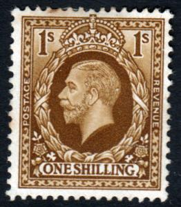GB KGV 1934 1/- 1s Bistre-Brown SG449 Mint Hinged