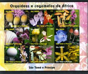 Sao Tome & Principe 2004 MUSHROOMS-ORCHIDS Sheet Imperforated Mint (NH)