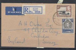 Kenya KGVI 1948 Registered Cover To Surrey Kitale CDS Postal History JK6399