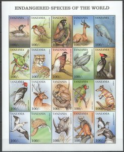 PK163 TANZANIA FAUNA ANIMALS BIRDS MARINE LIFE ENDANGERED BIG SH MNH STAMPS
