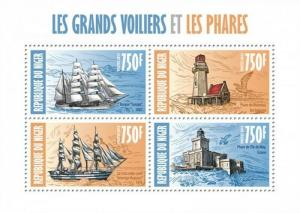 Niger - 2013 - Tall Ships and Lighthouses - 4 Stamp  Sheet 14A-244