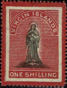VIRGIN ISLANDS #8 1867 ONE SHILLING ST. URSULA ISSUE  MINT-OG/HINGED--XF
