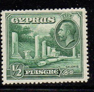 Cyprus Sc 126 1934 1/2 piastre Salamis Ruins & George V stamp mint