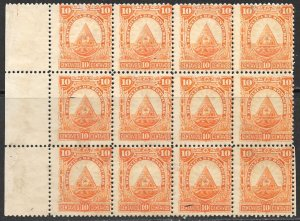 HONDURAS 1890 10c ARMS Issue BLOCK OF 12 Sc 43 MNG