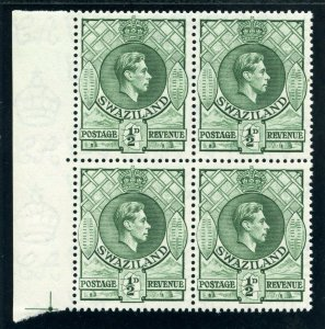 Swaziland 1938 KGVI ½d green block of four superb MNH. SG 28.