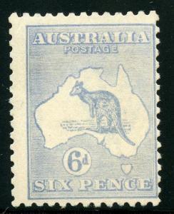 AUSTRALIA #48 6d KANGAROO MINT NEVER HINGED FULL ORIGINAL GUM