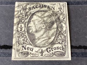 Saxony 1855 Grid Number cancel 13 for Schneeberg  Ore Mountains  Stamp 57183