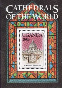 Uganda-Sc#1163A- id2-unused NH sheet-Cathedrals of the World-St Peter's, Vatican