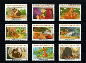 GRENADA - 1988 - DISNEY - FOX & THE HOUND - ANIMAL STORIES - 9 X MINT - MNH SET!