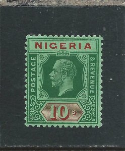 NIGERIA 1921-32 10s GREEN & RED/ GREEN MNH SG 29 CAT £65