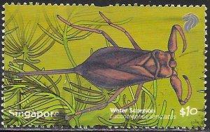 Singapore 1487 Used - Pond Life - Water Scorpion (Laccotrephes simulatus)