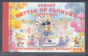 Jersey 1048a, 3 x 1047a 2002 Battle of Flowers stamp booklet mint NH