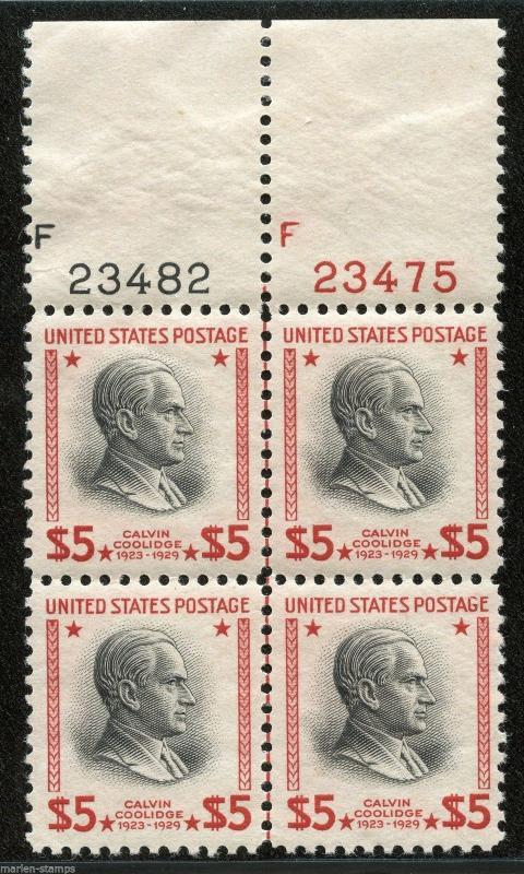 UNITED STATES $5 PRESIDENT SCOTT#834 PLATE BLOCK I OF FOUR  MINT NH ORIGINAL GUM