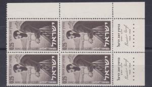 ISRAEL  1960   DR  THRODOR HERZI    BLOCK OF 4   MNH  WITH TABS